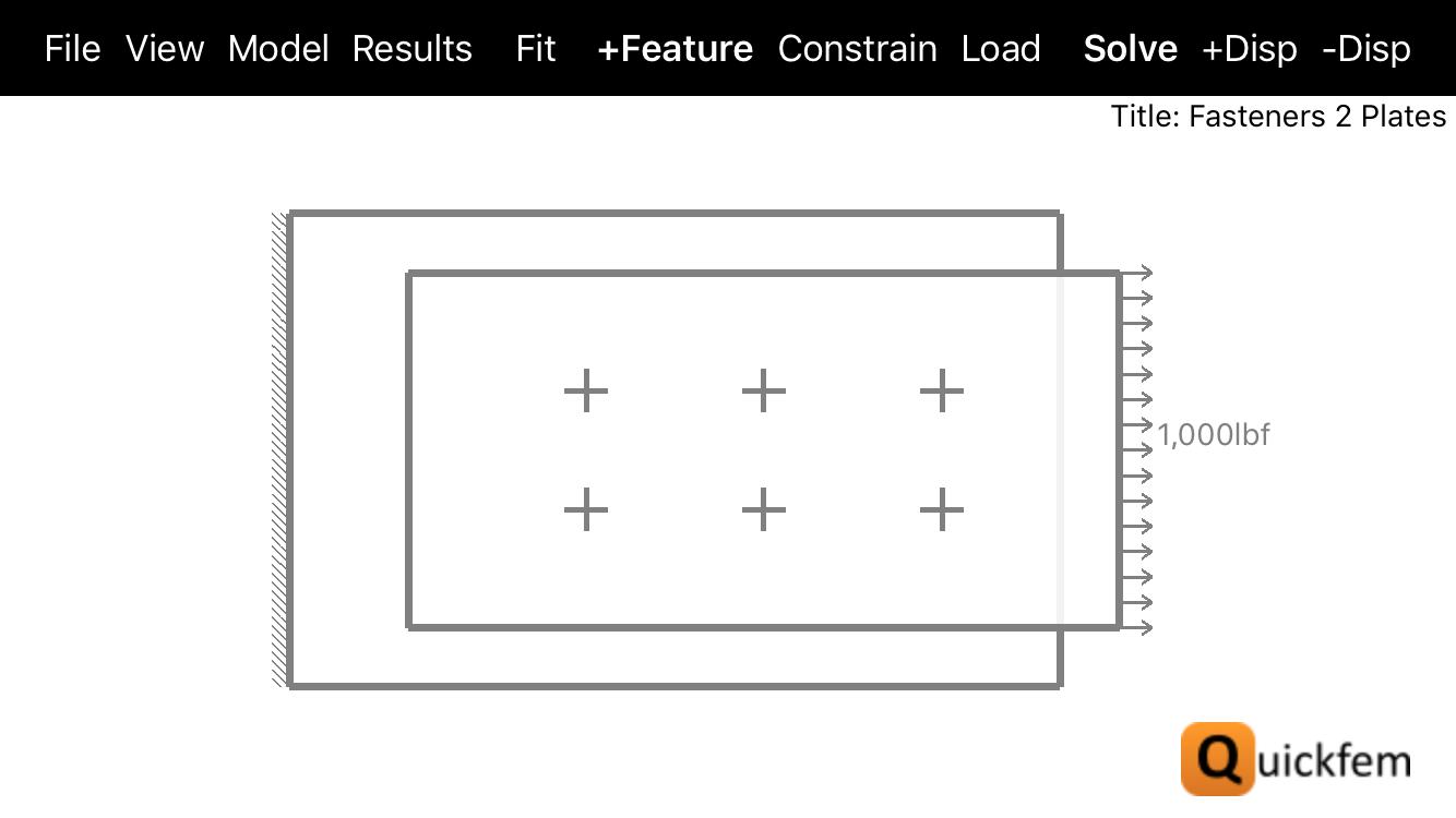 Quickfem 2 Plate Fastener FEA Model