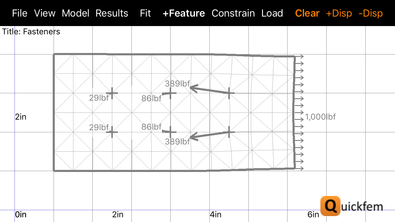 Quickfem FEA App Fasteners Freebody with Deformations
