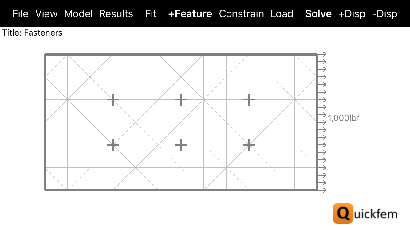 Quickfem FEA App Fasteners Grounded