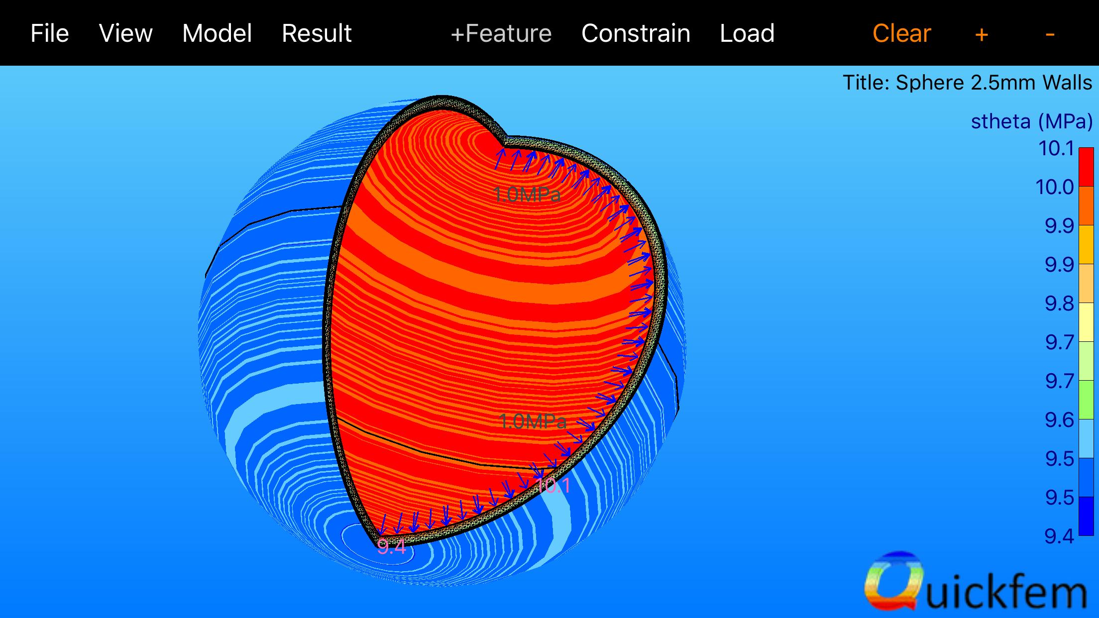 Quickfem Axisymmetric Sphere